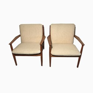 Vintage Danish Teak Easy Chairs by Grete Jalk for Glostrup, 1960s, Set of 2
