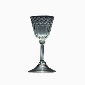 Antique 18th-Century Moulded Liege Wine Glass, 1720s