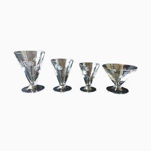 Französisches Art Déco Gläserset aus Kristallglas, 1920er, 32er Set