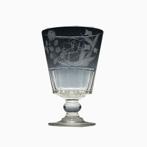 19th-Century Glass Engraved Serving Rummer with Paddle Steamer, 1830s