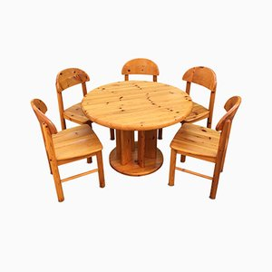 Danish Pine Table & Chairs Set by Rainer Daumiller for Hirtshals, 1970s
