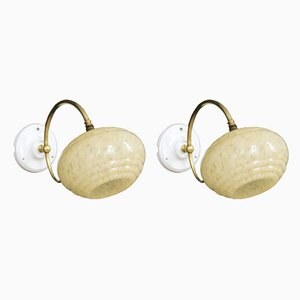 Vintage Brass & Porcelain Sconces, Set of 2