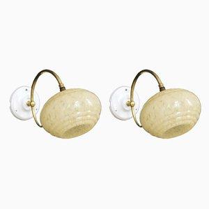 Vintage Wandlampen aus Messing & Porzellan, 2er Set