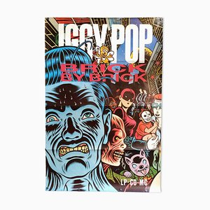 Póster promocional del disco Brick by Brick de Iggy Pop vintage