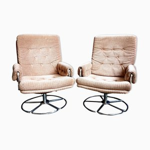 Mid-Century Metal and Wool Swivel Lounge Chairs, Set of 2