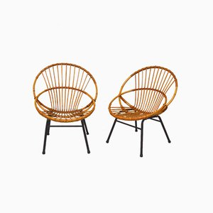 Vintage Round Rattan Armchairs, Set of 2