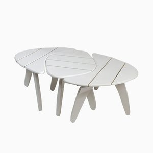 French Painted Beech Modular Garden Table from Hugonet, 1950s