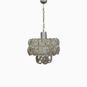 Lámpara de araña italiana de cristal de Murano de Angelo Mangiarotti para Vistosi, años 60