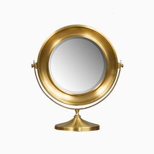 Large Vintage Italian Brass Vanity Mirror, 1970s