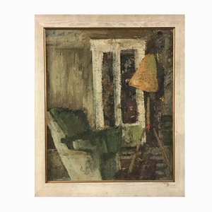 Mid-Century room interior painting in wooden frame