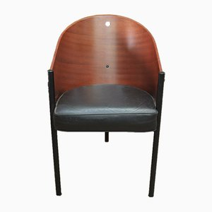 French Mahogany and Metal Costes Lounge Chair by Philippe Starck, 1980s