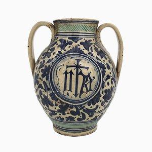 Vase Majolica Antique, Italie, 18ème Siècle