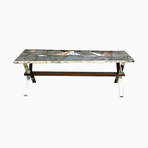 French Hand-Painted Vallauris Ceramic & Chrome Coffee Table, 1970s