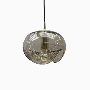 Lámpara de techo Wave alemana grande de latón y cristal ahumado de Koch & Lowy para Peill & Putzler, años 60