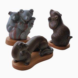 Esculturas de animales suecas vintage de cerámica de Gunnar Nylund para Rörstrand. Juego de 3