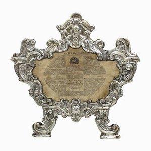 Cadre Louis XV en Bois Argenté, Italie, 18ème Siècle