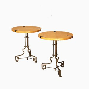 Mid-Century French Brass & Pearwood Folding Coffee Tables, 1961, Set of 2