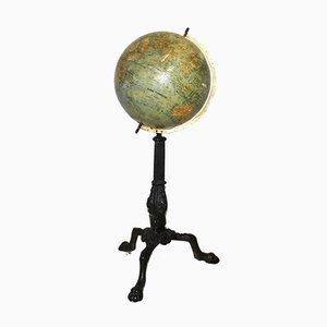 Globo terráqueo francés antiguo con pedestal de hierro de E. Dubail & G. Thomas