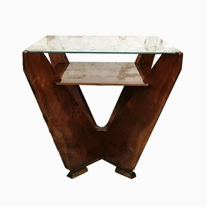 Art Déco Spieltisch mit Holzgestell & Glasplatte, 1930er