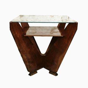 Mesa de juegos Art Déco de vidrio y madera, años 30