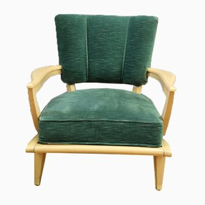 Green Velvet Lounge Chair, 1950s