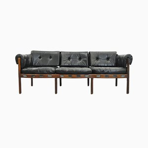 Vintage Rosewood & Black Leather 3-Seater Sofa by Arne Norell for Coja, 1960s