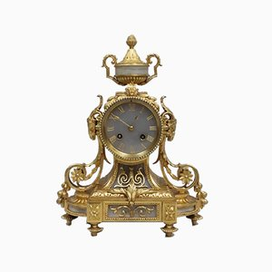 Antique French Gilt Bronze and Alabaster Mantel Clock from Japy Freres, 1860s