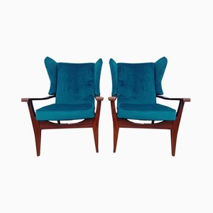 Afromosia and Velvet Armchairs, 1960s, Set of 2