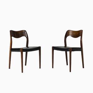 Dänische Esszimmerstühle aus Palisander von Niels Otto Møller für J.L. Møllers, 1950er, 6er Set
