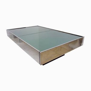 Italian Smoked Glass Extendable Coffee Table by Willy Rizzo for Cidue, 1960s