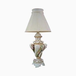 Italienische Vintage 3243 Tischlampe aus Porzellan mit Blumenmotiven von R. Capodimonte