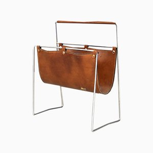 Leather and Steel Magazine Rack by Carl Auböck, 1950s