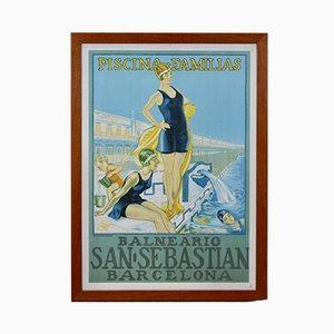 Vintage San Sebastian Barcelona Pool Framed Poster from Cartel