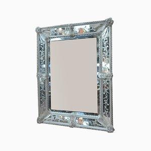 Antiker italienischer Spiegel mit weißem Rahmen im Jugendstil