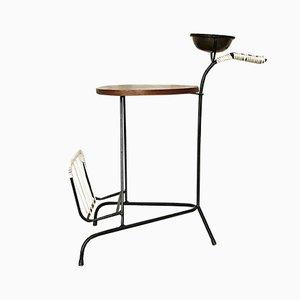 Tavolino modernista in ottone e ferro con portariviste, Danimarca, anni '60