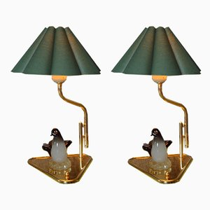 Lámparas de mesa chapadas en oro de Rejmyre Armaturfabrik AB, años 70. Juego de 2