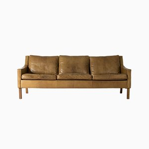 Vintage Leather Sofa by Ib Kofod Larsen for OPE, 1960s