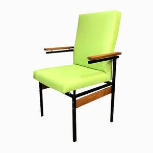 Moderner Armlehnstuhl mit Metallgestell & grünem Bezug aus Ökoleder, 1960er