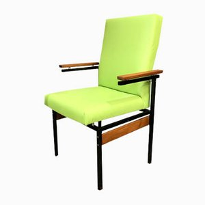 Modernist Metal & Green Eco-Leather Armchair, 1960s