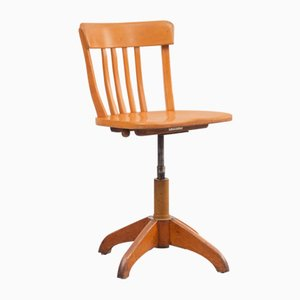 Mid-Century Beech Architect Swivel Chair, 1950s
