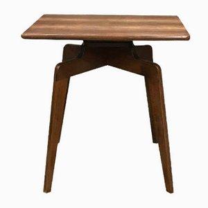 Mid-Century Beistelltisch aus Holz mit drehbarer Tischplatte, 1950er