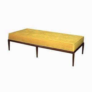 Sofá cama de terciopelo y nogal de T. H. Robsjohn-Gibbings, años 50