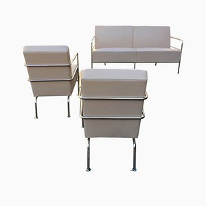 Vintage Nude Leather Cinema Living Room Set by Gunilla Allard for Lammhults, 1990s