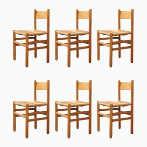 Modernist Oak and Rush Dining Chairs by Johan van Heuvel for Ad Vorm, 1960s, Set of 6