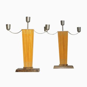 Art Deco Birch and Brass Candleholders, 1930s, Set of 2