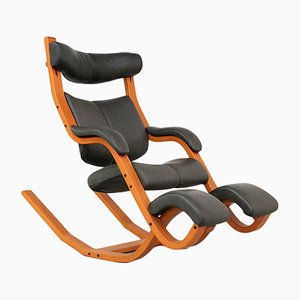 Beech and Leather Gravity Balans Reclining Lounge Chair by Peter Opsvik for Stokke, 1990s