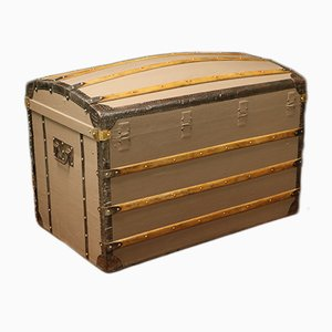 French Brass, Fabric, & Poplar Trunk from Moynat, 1920s