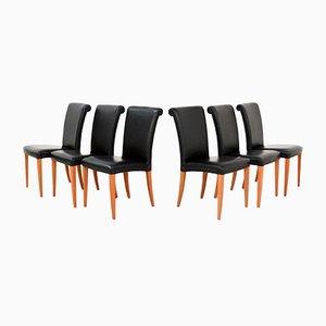 Italienische Esszimmerstühle aus Buche & Leder von Poltrona Frau, 1990er, 6er Set