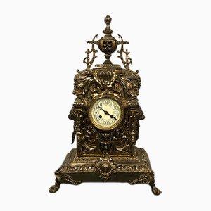 Grande Horloge de Cheminée Antique en Laiton, France