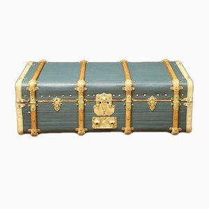 Geschwungener französischer Vintage Koffer aus Buche, Messing & blaugrauem Leder, 1920er